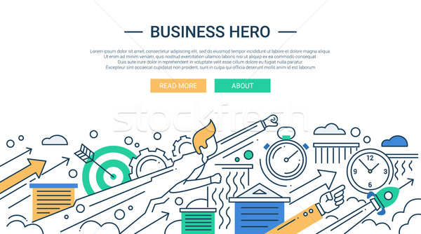 Business hero line flat design banner with superhero businessman. Stock photo © Decorwithme