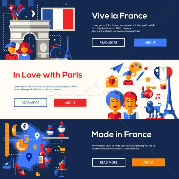Fransa seyahat afişler ayarlamak ünlü fransız Stok fotoğraf © Decorwithme