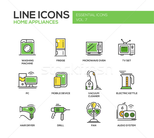 Home Appliances - line design icons set Stock photo © Decorwithme