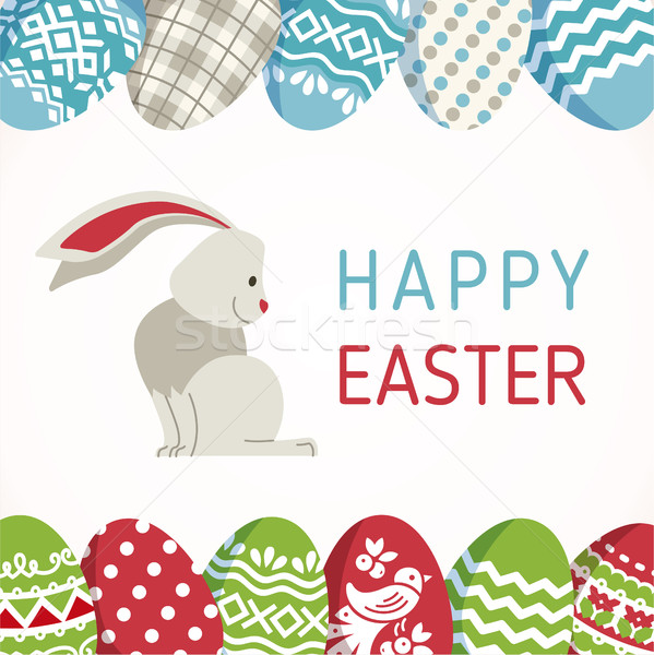 Happy Easter - modern vector card Stock photo © Decorwithme