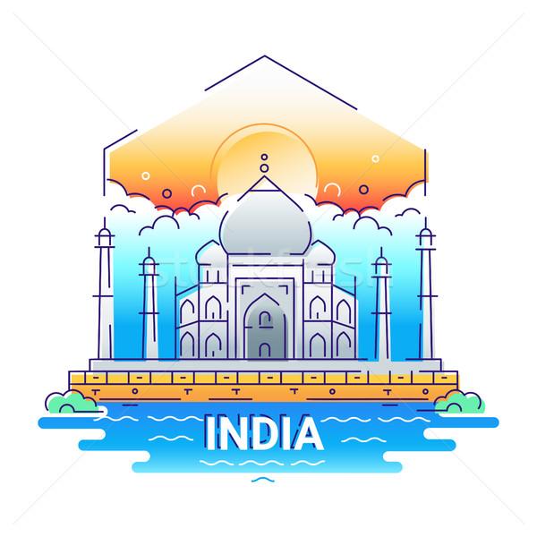 India - modern vector line travel illustration Stock photo © Decorwithme
