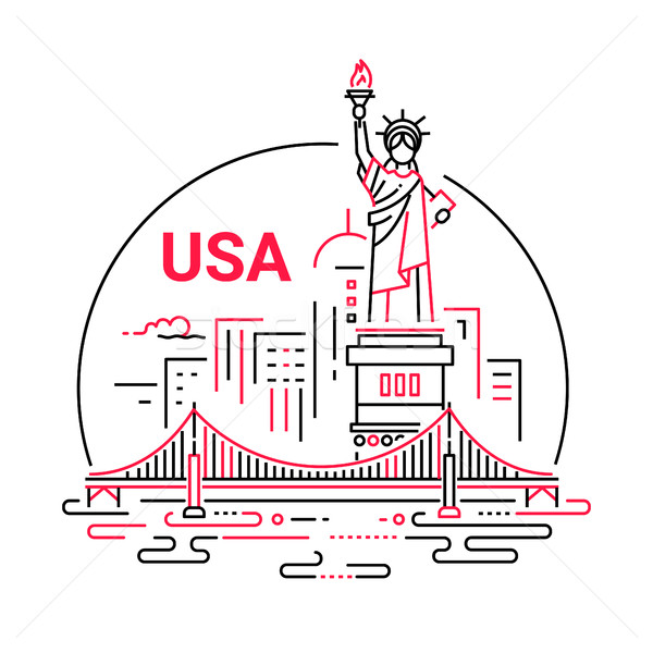 USA - modern vector line travel illustration Stock photo © Decorwithme