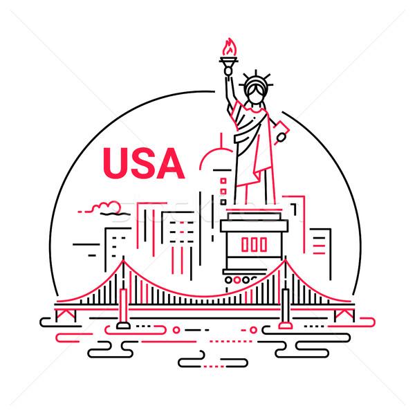 USA modern vektor vonal utazás illusztráció Stock fotó © Decorwithme
