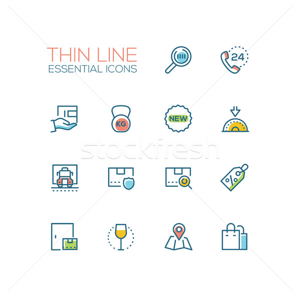 Delivery Service - modern vector single thin line icons set Stock photo © Decorwithme