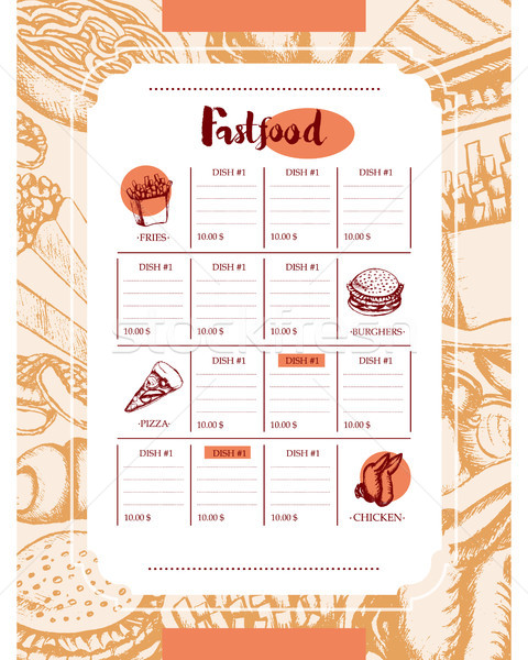 Fast food - color hand drawn vintage template menu Stock photo © Decorwithme