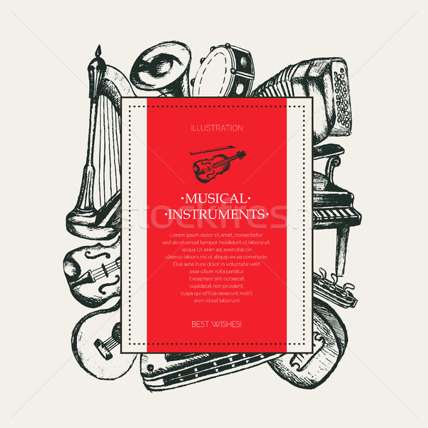 Musical Instruments - hand drawn square postcard template. Stock photo © Decorwithme