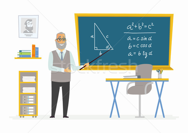 Geometry Classroom - male teacher composition at the blackboard Stock photo © Decorwithme