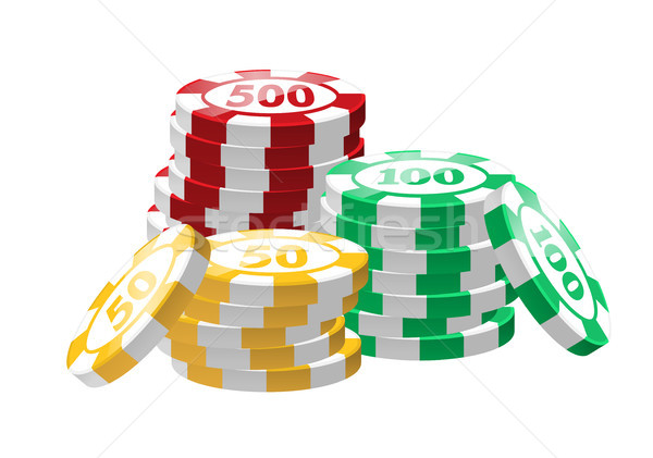 Red, green, yellow poker chips - modern vector isolated clip art Stock photo © Decorwithme