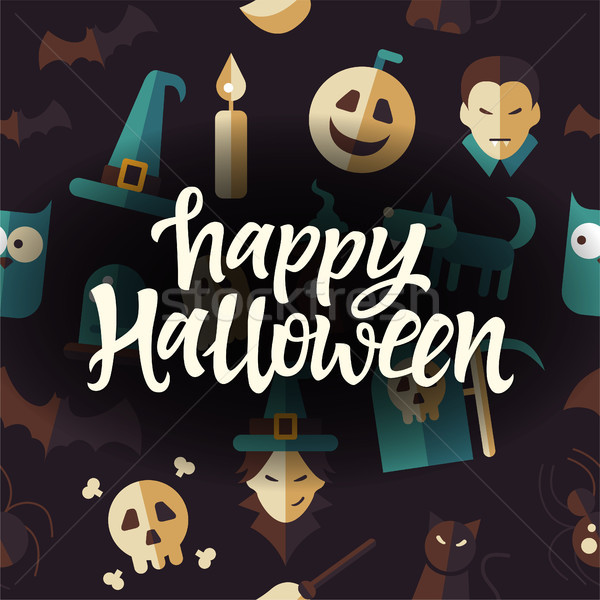 счастливым Хэллоуин празднования плакат бесшовный темно Сток-фото © Decorwithme