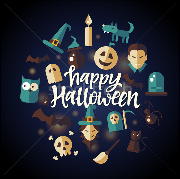 Happy Halloween - celebration poster on seamless background Stock photo © Decorwithme