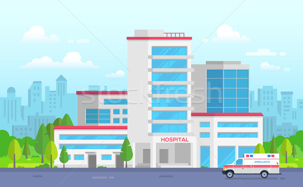 City hospital with ambulance - modern vector illustration Stock photo © Decorwithme