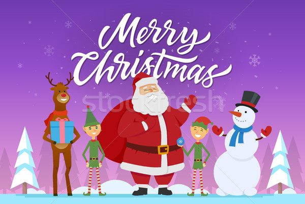 Merry Christmas - cartoon characters illustration with Santa, elves, raindeer, snowman Stock photo © Decorwithme