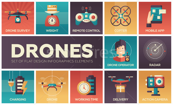 Stock photo: Drones - set of flat design infographics elements