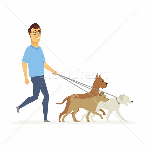Volunteer helps to walk dogs - cartoon people characters isolated illustration Stock photo © Decorwithme