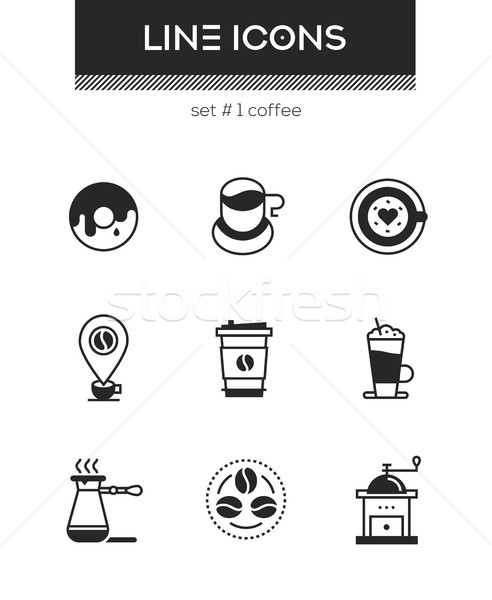 Coffee - set of line design style icons Stock photo © Decorwithme