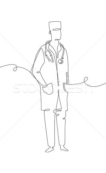 Orvos egy vonal terv stílus illusztráció Stock fotó © Decorwithme