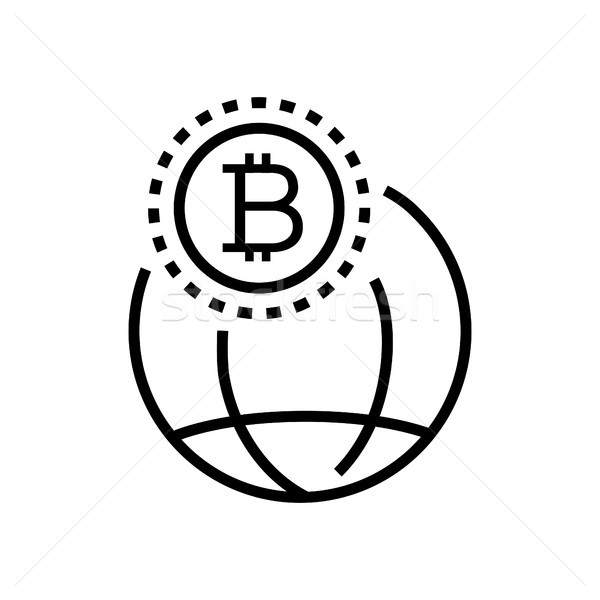 Worldwide cryptocurrency - line design single isolated icon Stock photo © Decorwithme