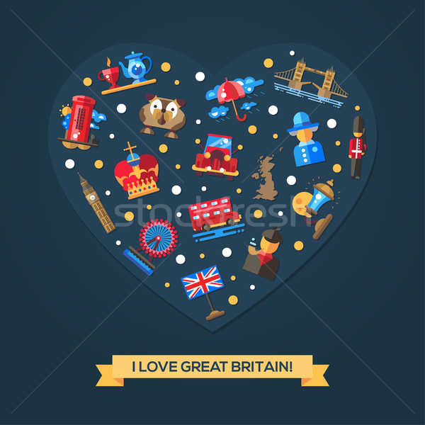 I love Great Britain heart card with famous British symbols Stock photo © Decorwithme