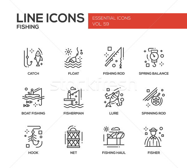 Fishing - line design icons set Stock photo © Decorwithme