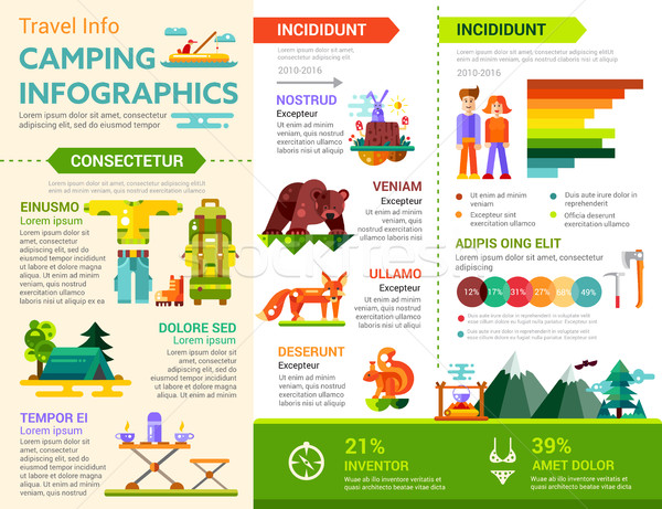 Camping Infographics - poster, brochure cover template Stock photo © Decorwithme