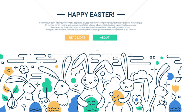 Easter - line design website banner Stock photo © Decorwithme
