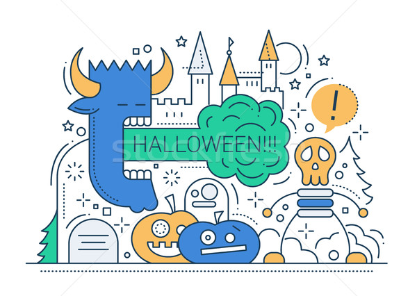 Stock fotó: Halloween · vonal · terv · kártya · buli · ünnepek