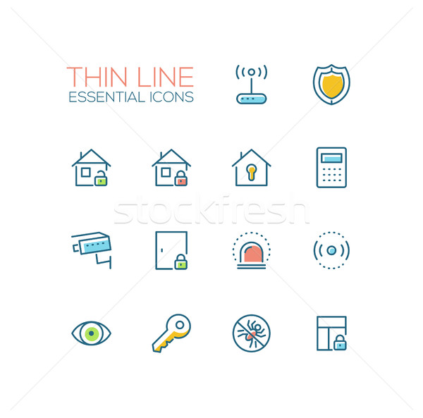 House Security - Thin Single Line Icons Set Stock photo © Decorwithme