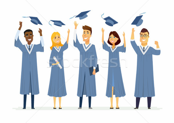 Happy graduating students - cartoon people characters isolated illustration Stock photo © Decorwithme