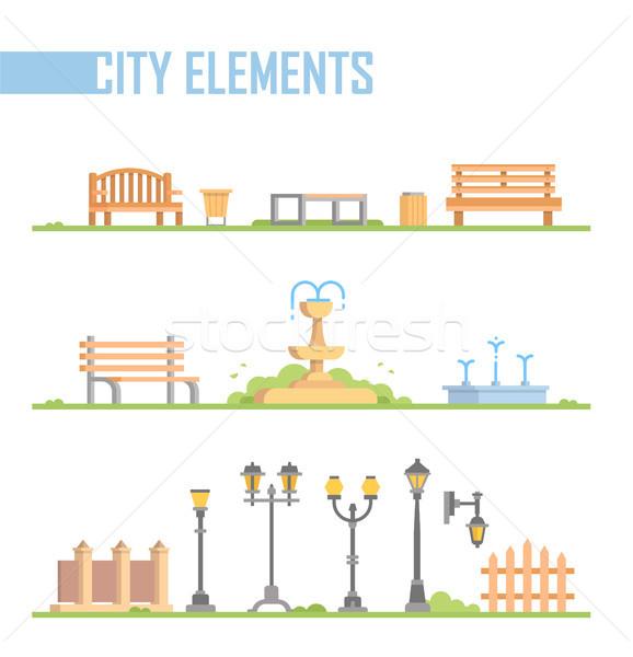 Stock fotó: Szett · város · elemek · modern · vektor · rajz