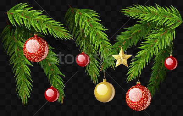 Christmas jodła zestaw nowoczesne wektora Zdjęcia stock © Decorwithme