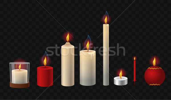 Brennen Kerzen realistisch Vektor isoliert Clip Art Stock foto © Decorwithme