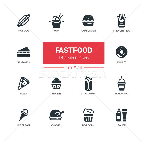 Fastfood concept - line design icons set Stock photo © Decorwithme