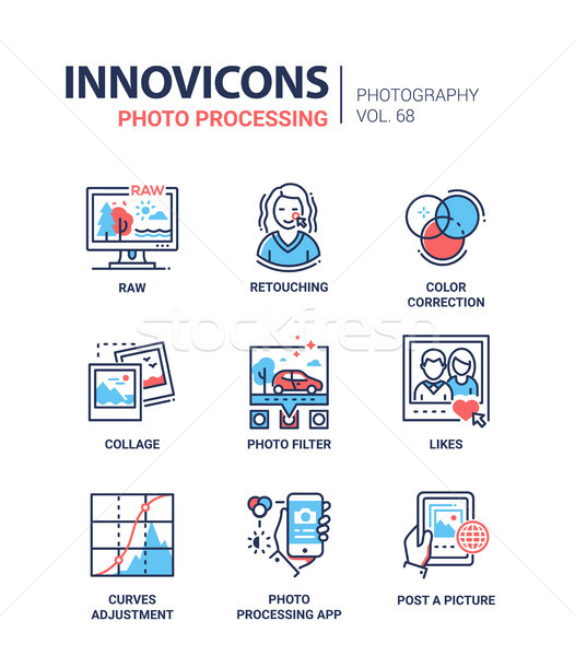 Photo processing - line design icons set Stock photo © Decorwithme