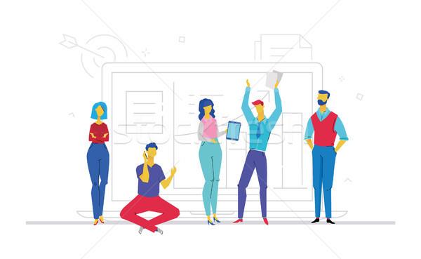 ストックフォト: チームワーク · デザイン · スタイル · カラフル · 実例 · 白