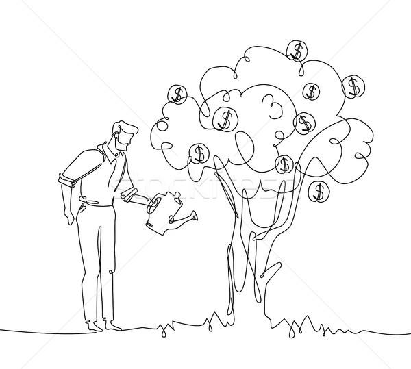 üzletember locsol pénzfa egy vonal terv Stock fotó © Decorwithme
