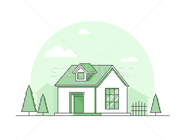 Farm house - modern thin line design style vector illustration Stock photo © Decorwithme