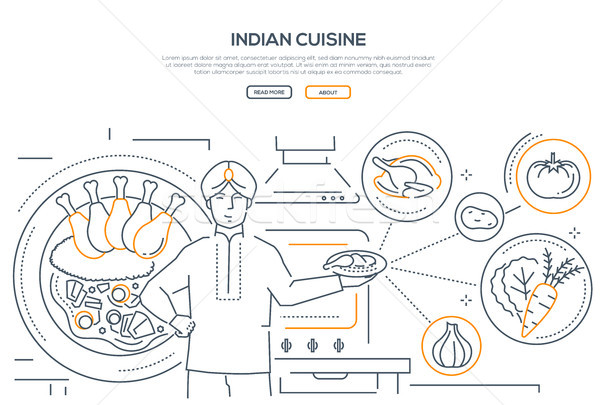 Stock photo: Indian cuisine - line design style banner with place for text