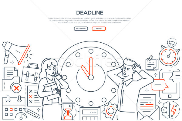 Deadline - line design style vector web banner Stock photo © Decorwithme