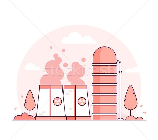 Nucleaire energiecentrale dun lijn ontwerp stijl Stockfoto © Decorwithme