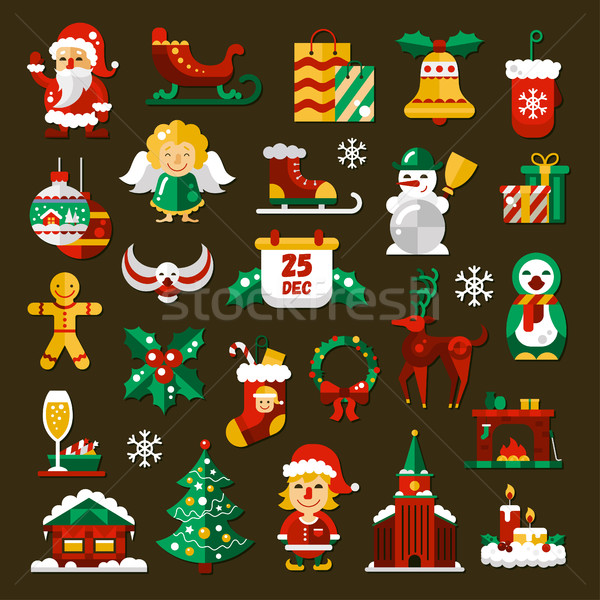 Set of Christmas and Happy New Year flat design icons Stock photo © Decorwithme