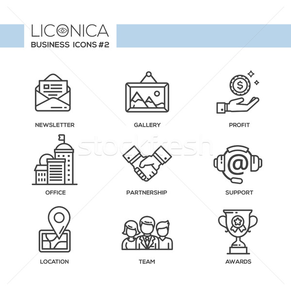 Set of modern office line flat design icons and pictograms  Stock photo © Decorwithme