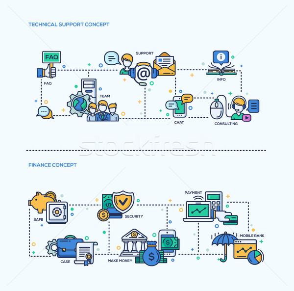 Stock fotó: Technikai · támogatás · pénzügy · ikonok · üzlet · kompozíciók · szett
