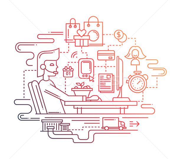 Delivery service and support - line design illustration Stock photo © Decorwithme