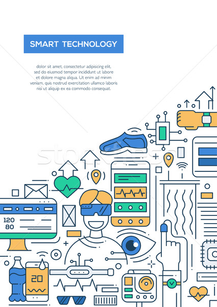 Smart Technology - line design brochure poster template A4 Stock photo © Decorwithme