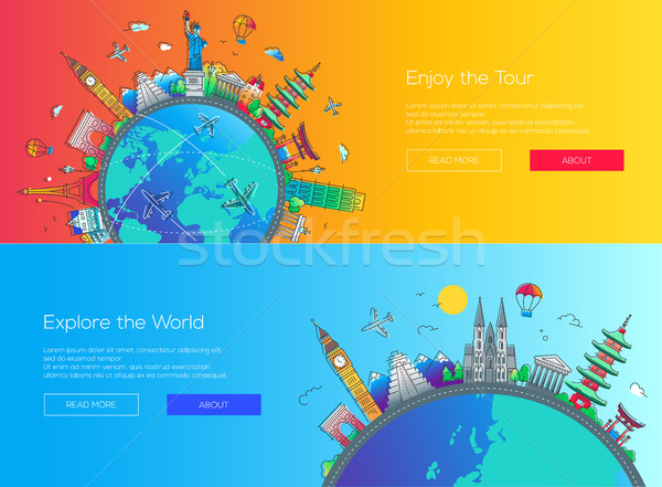 Flat design web page travel banners set Stock photo © Decorwithme