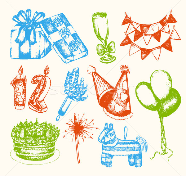 Happy Birthday - illustration of vector vintage composition Stock photo © Decorwithme