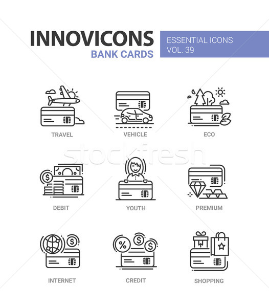 Bank Cards - modern vector line design icons set. Stock photo © Decorwithme