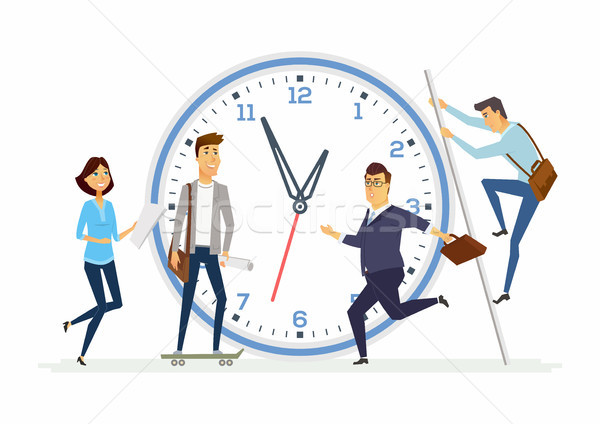 Time management in a company - modern cartoon people characters illustration Stock photo © Decorwithme