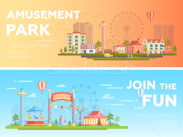 Amusement park - set of modern flat vector illustrations Stock photo © Decorwithme