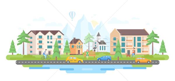 Foto stock: Cidade · montanhas · moderno · projeto · estilo · hills